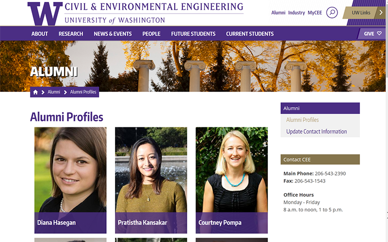 UW Civil & Environmental Engineering alumni profiles page