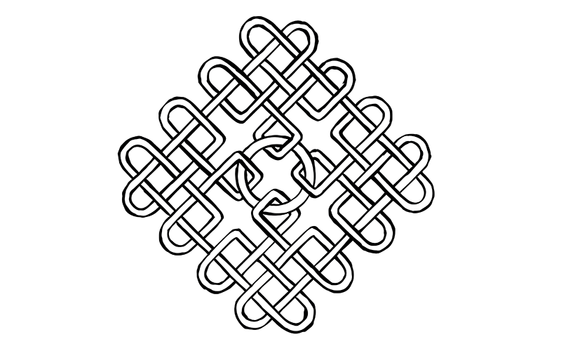 Complicated Celtic knot in the shape of a diamond