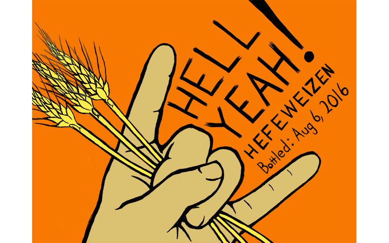 Hell Yeah label; hands throwing up the horns while holding wheat