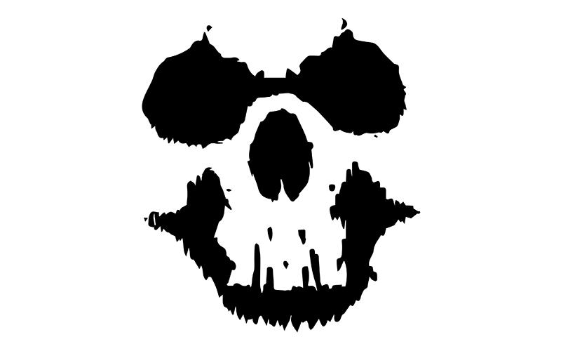 A skull in negative
