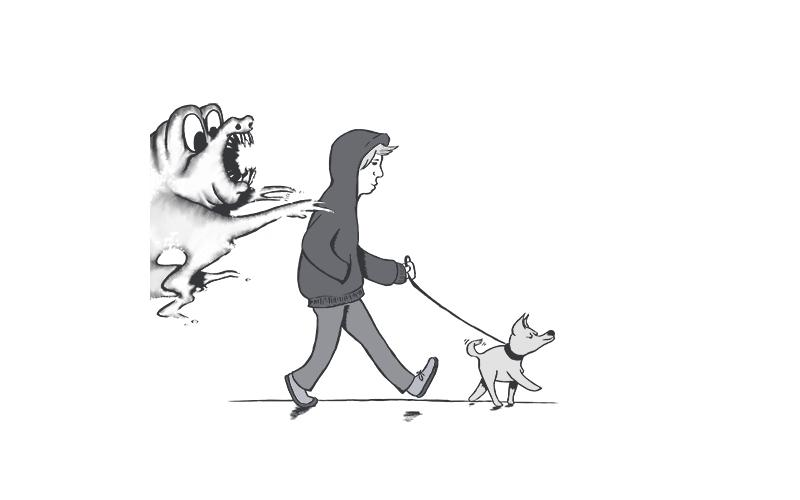A man walking a dog while a smoke monster attempts to cling to him