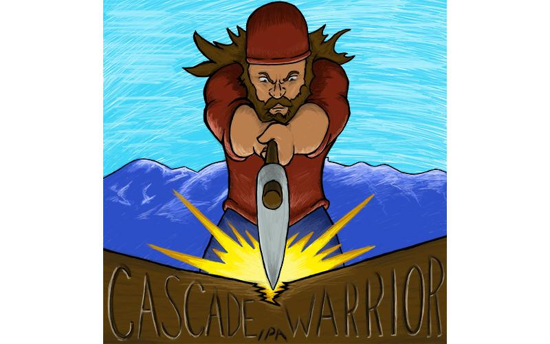 Cascade warrior art; a lumberjack splitting wood